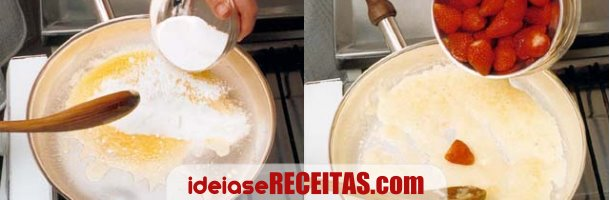 Morangos flambados em vodka com gelado - Passo 2