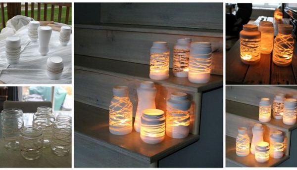 Suporte de velas em frascos de doce