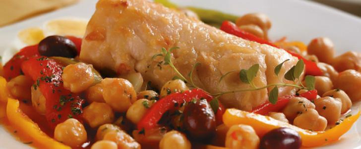 Receita de Bacalhau com grão-de-bico