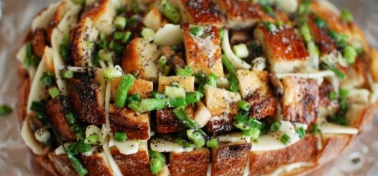 receita pao afastado queijo cogumelos