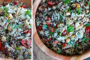 Salada de bacalhau com grao e quinoa