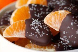 Gomos de tangerina e chocolate