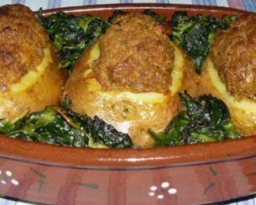 Batatas com Alheira e Grelos de Nabo