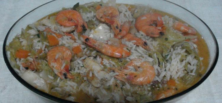 arroz de bacalhau e camarao